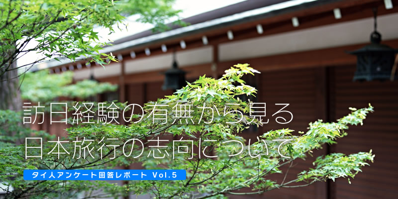 訪日経験の有無から見る日本旅行の志向について【タイ人アンケート回答レポート Vol.5】